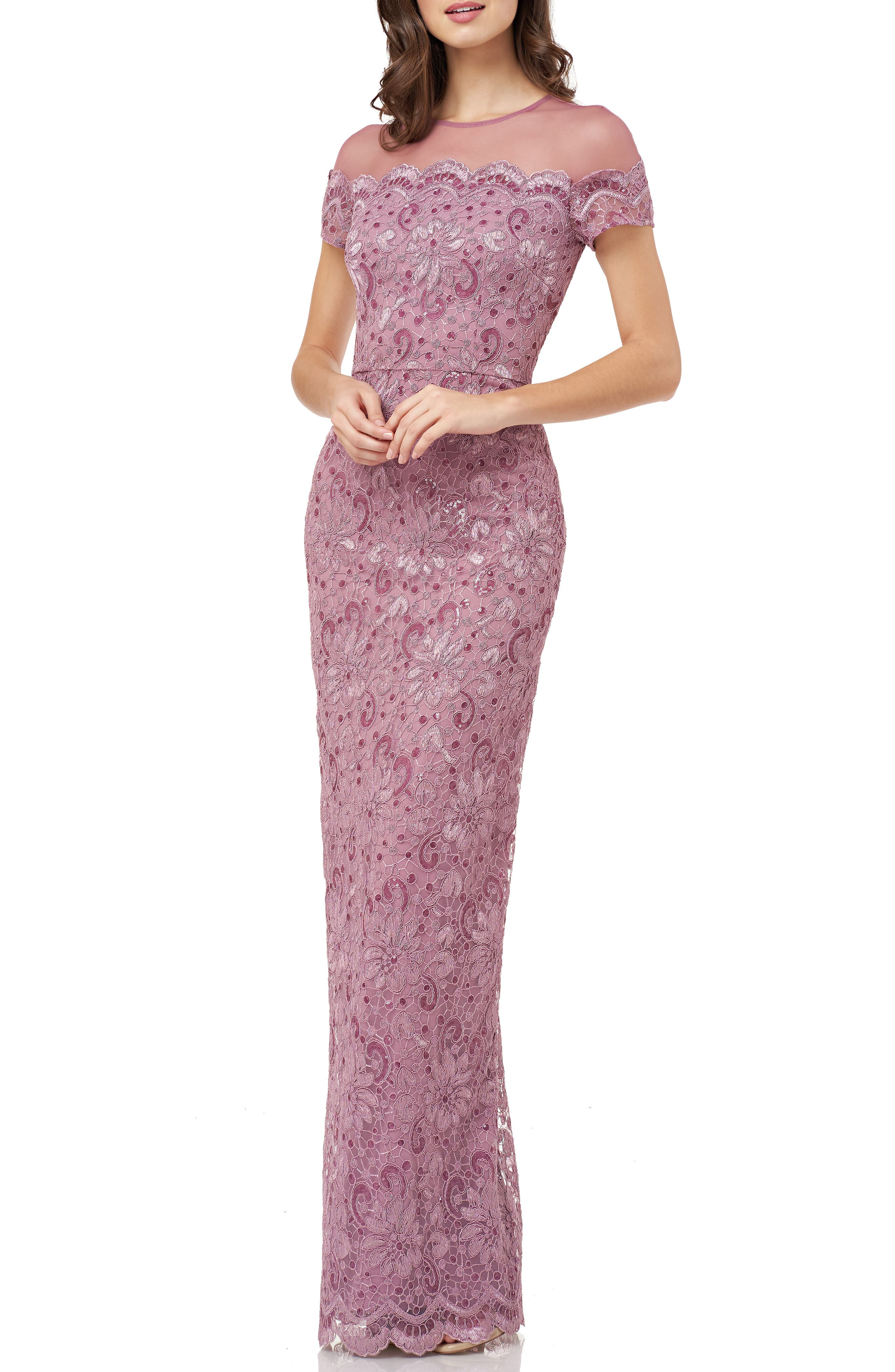 Js Collections Sequin Lace Gown, Pink