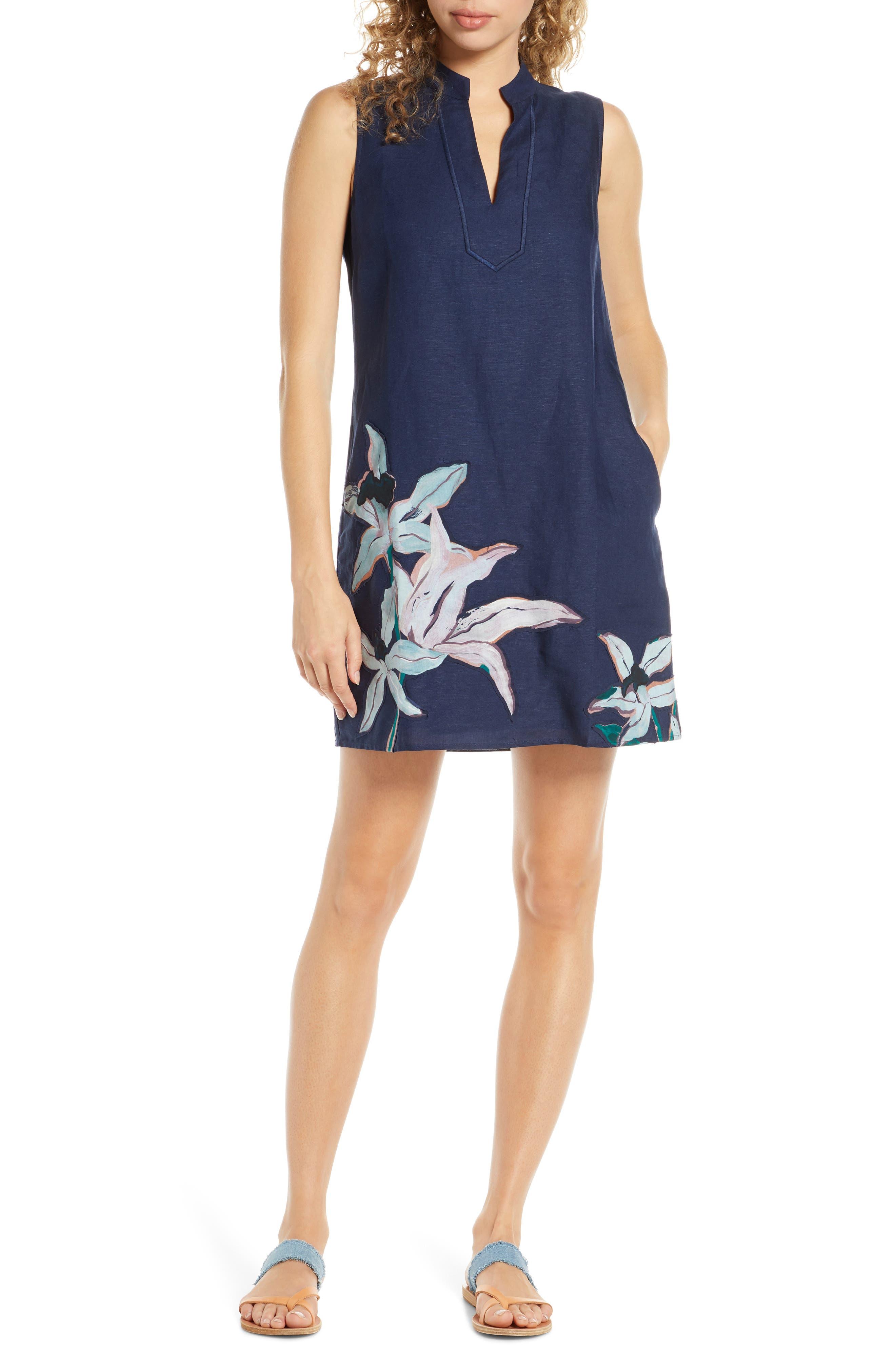 Tory Burch Sleeveless Cover-Up Dress, Blue