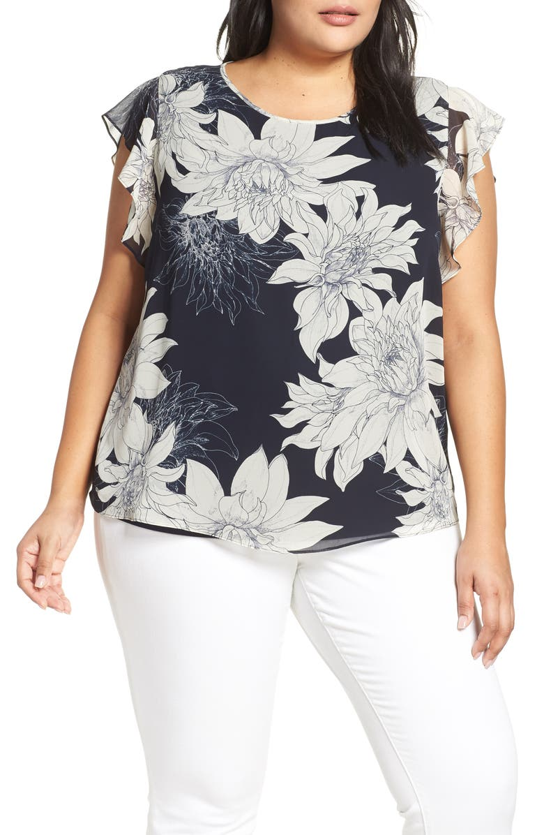 VINCE CAMUTO Pagoda Blossoms Flutter Sleeve Blouse, Main, color, CLASSIC NAVY
