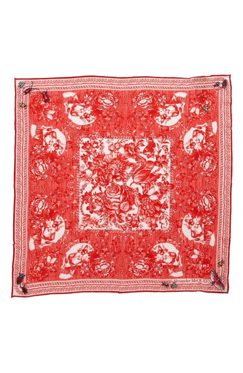 ALEXANDER MCQUEEN Deck of Skulls Silk Bandana, Main, color, IVORY/ RED