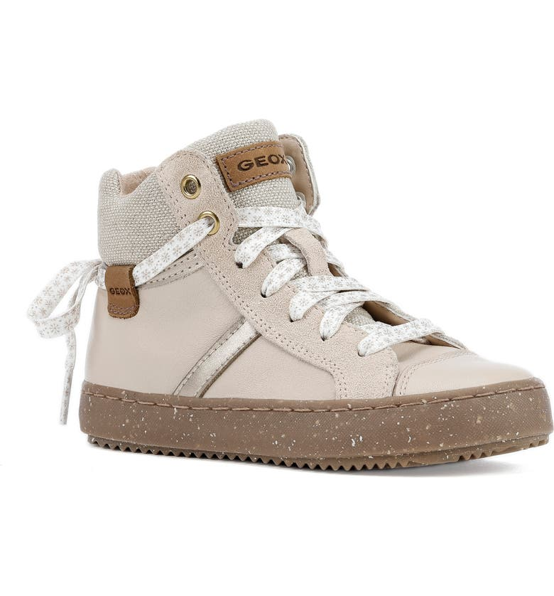 GEOX x WWF Kalispera High Top Sneaker, Main, color, LIGHT BEIGE