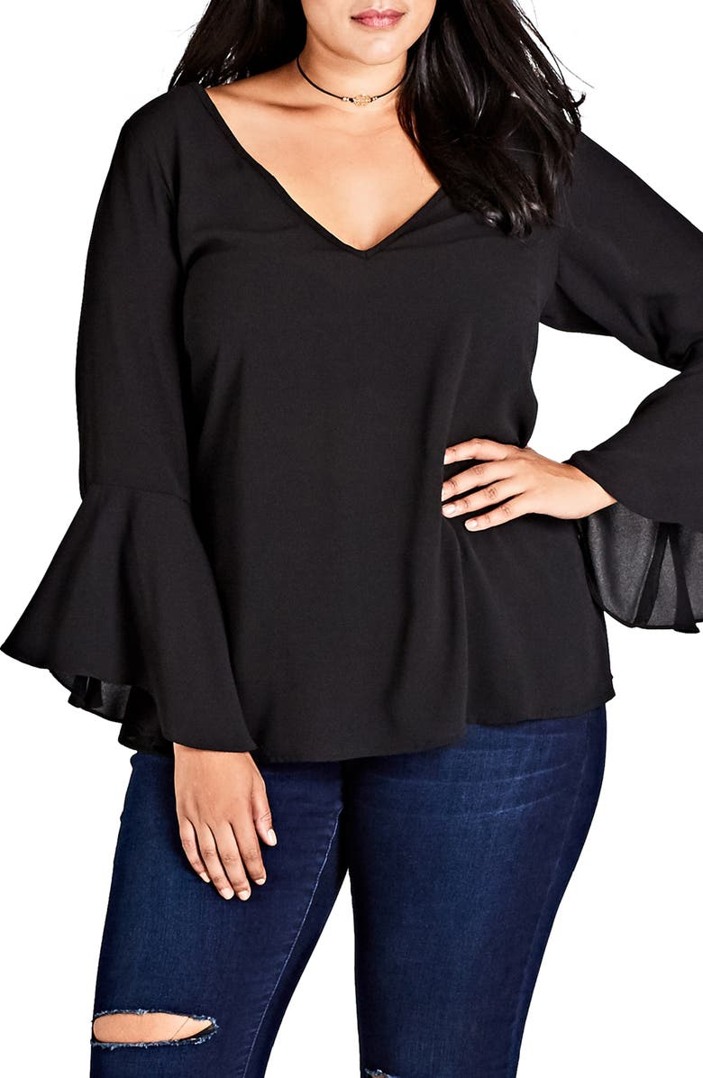 CITY CHIC Bell Sleeve Top, Main, color, 001