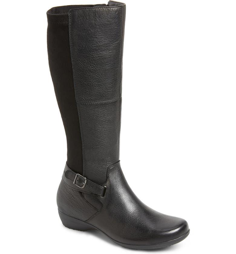 DANSKO Francesca Knee High Riding Boot, Main, color, BLACK LEATHER