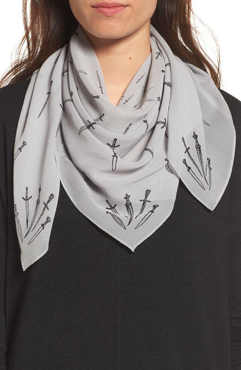 RAG & BONE Dagger Print Silk Scarf, Main, color, 020