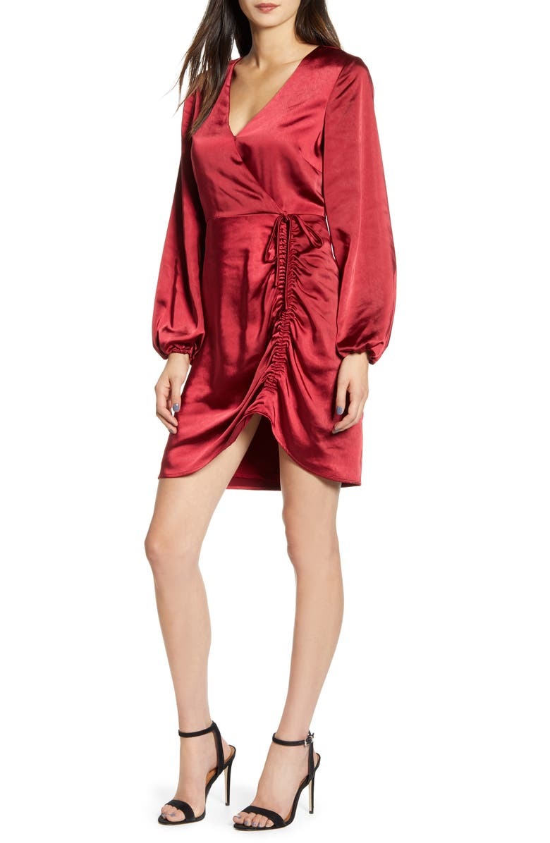 CUPCAKES AND CASHMERE Brooklyn Faux Wrap Long Sleeve Satin Dress, Main, color, CURRANT RED