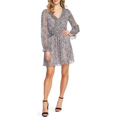Cece Mountain Leopard Long Sleeve Dress, Grey