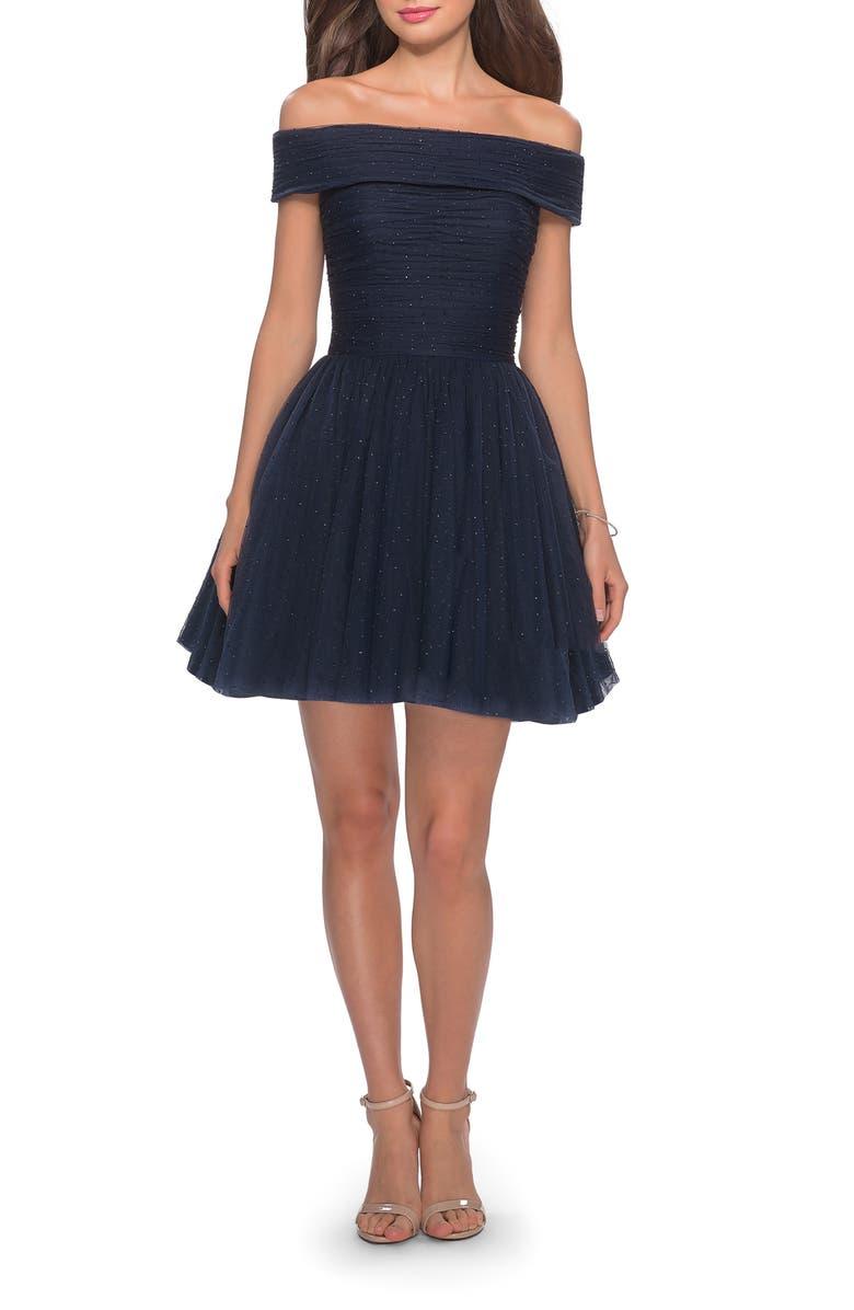LA FEMME Off the Shoulder Sparkle Tulle Cocktail Dress, Main, color, 410