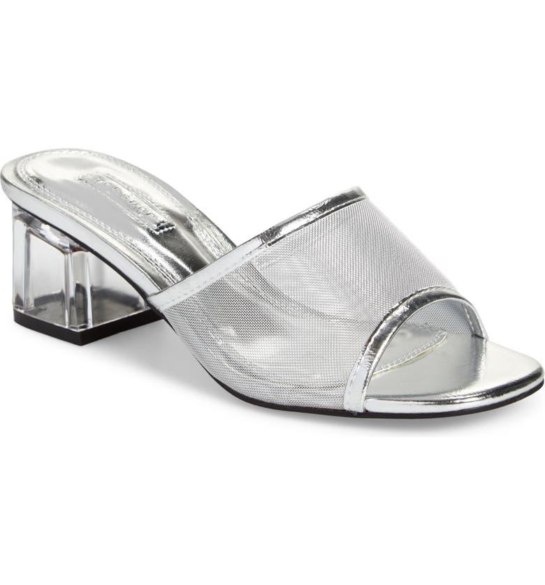 TOPSHOP Dusty Block Heel Slide Sandal, Main, color, SILVER
