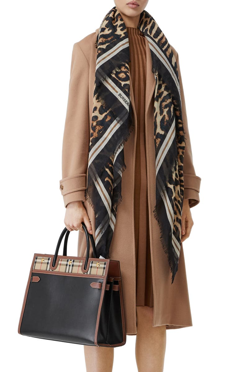 BURBERRY Monogram Leopard Print Wool & Silk Scarf, Main, color, ARCHIVE BEIGE