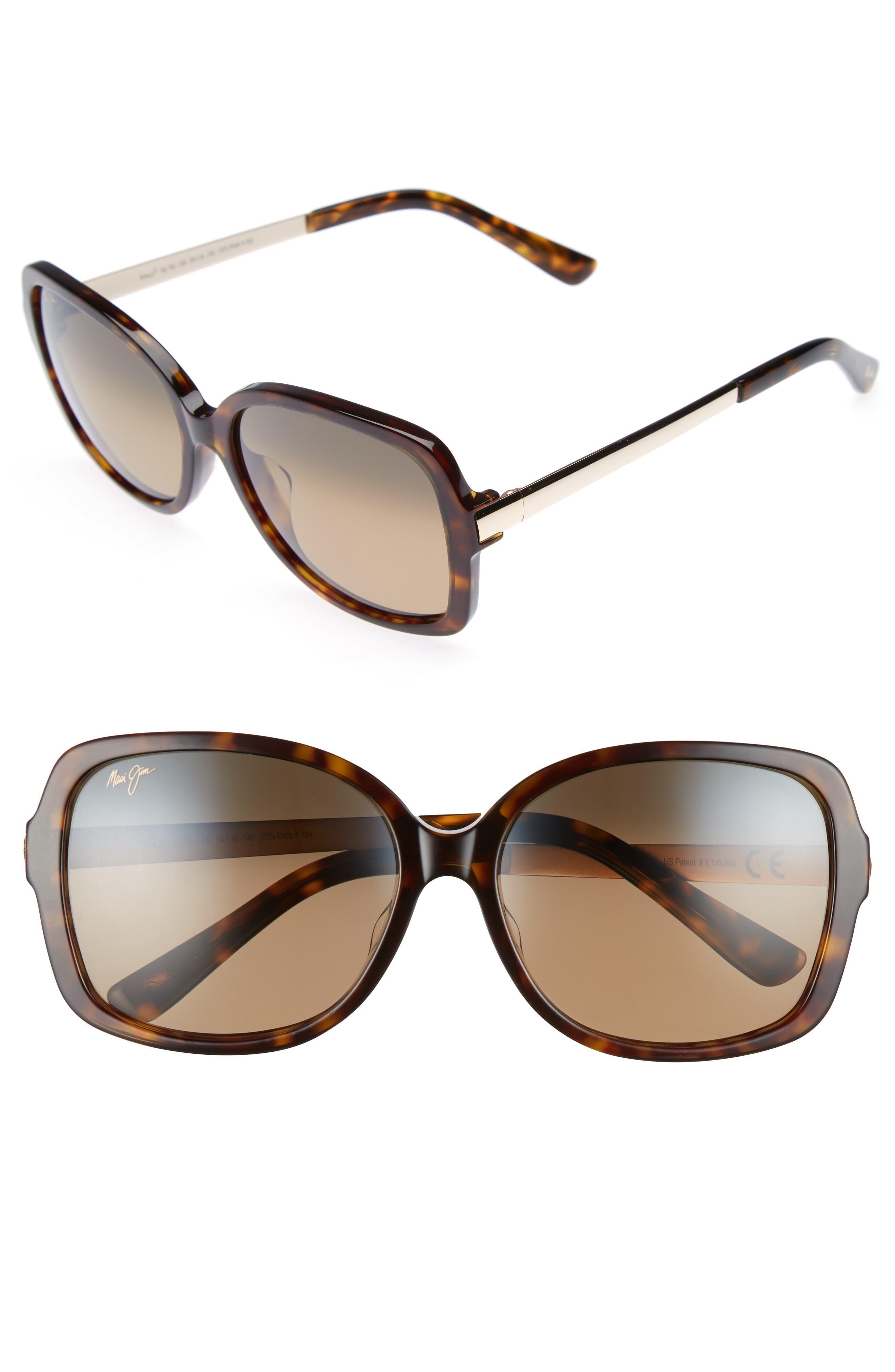 Melika 58mm Polarized Square Sunglasses, Main, color, DARK TORTOISE GOLD/ BRONZE