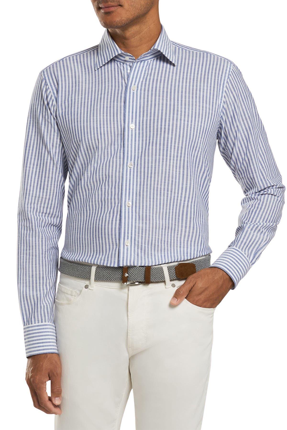 Image of Peter Millar Summer Chambray Stripe Shirt