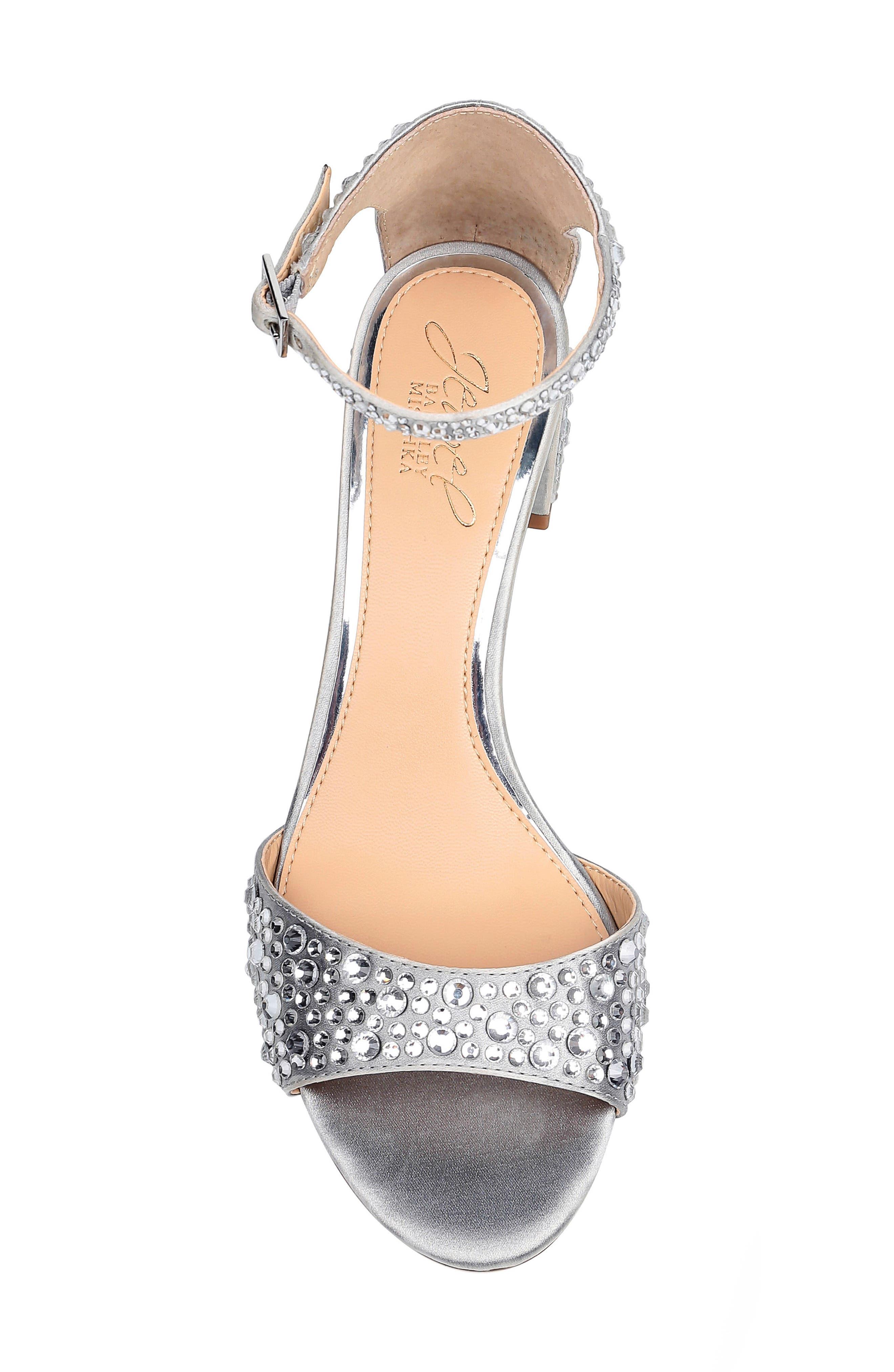 ,                             Crystal Block Heel Sandal,                             Alternate thumbnail 5, color,                             SILVER CRYSTAL SATIN