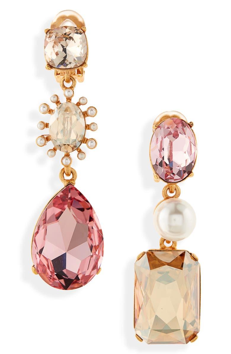 OSCAR DE LA RENTA Mismatched Clip-On Drop Earrings, Main, color, GOLD