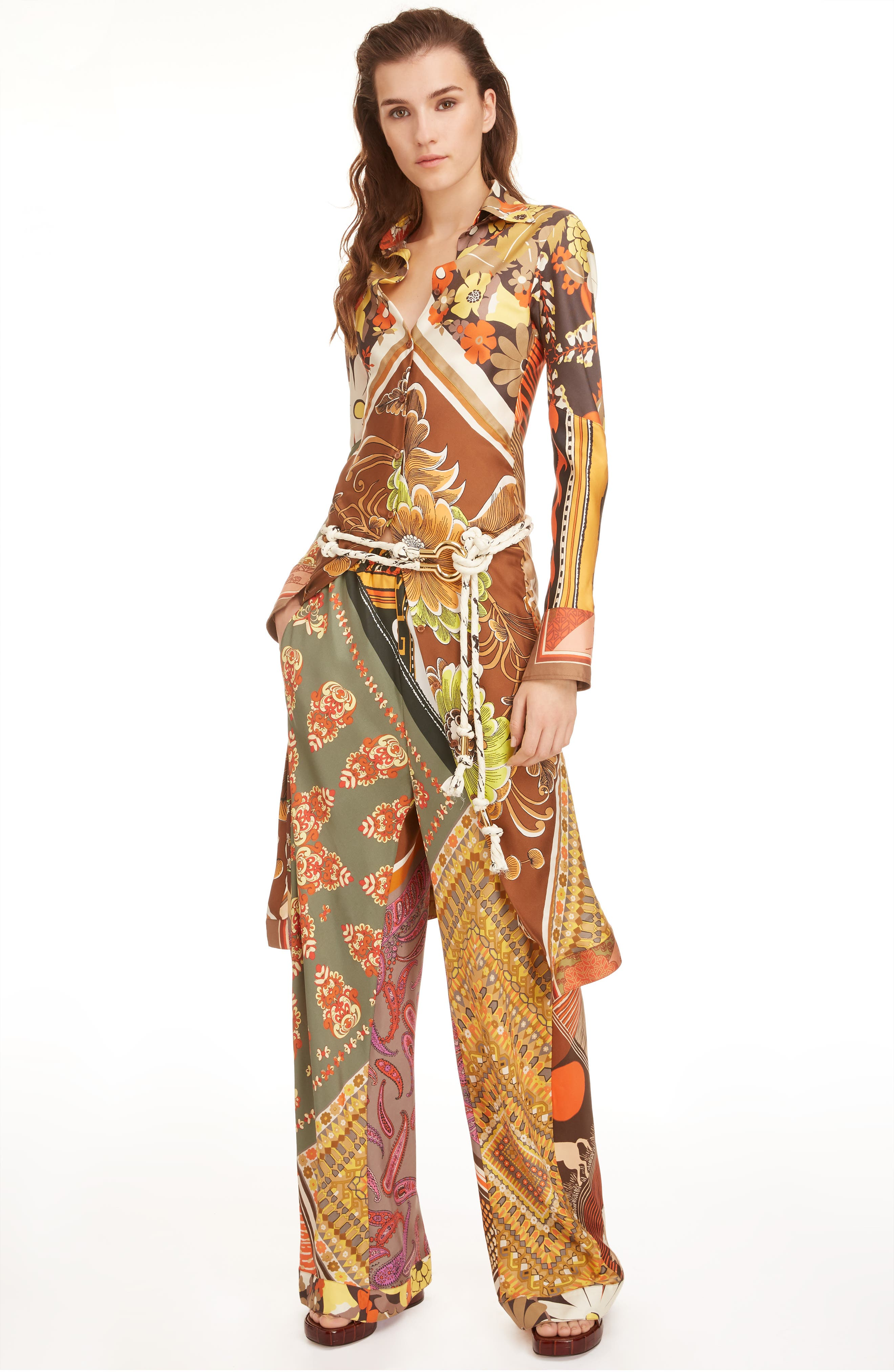 ,                             Caravan Print Silk Tunic Shirt,                             Alternate thumbnail 7, color,                             MULTICOLOR ORANGE