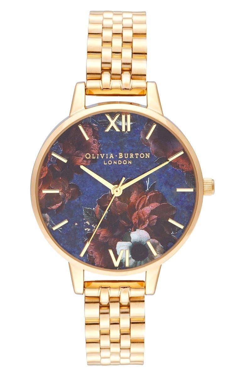 OLIVIA BURTON Floral Print Bracelet Watch, 34mm, Main, color, 710