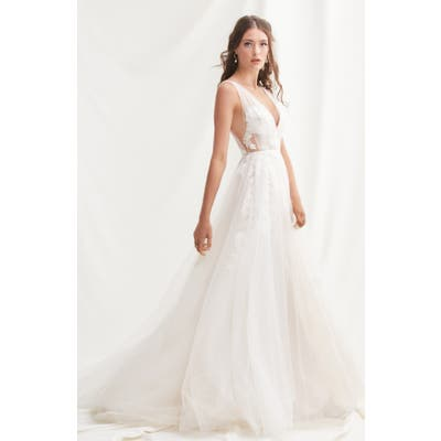 Willowby Lanie Floral Applique & Tulle A-Line Wedding Dress, Ivory