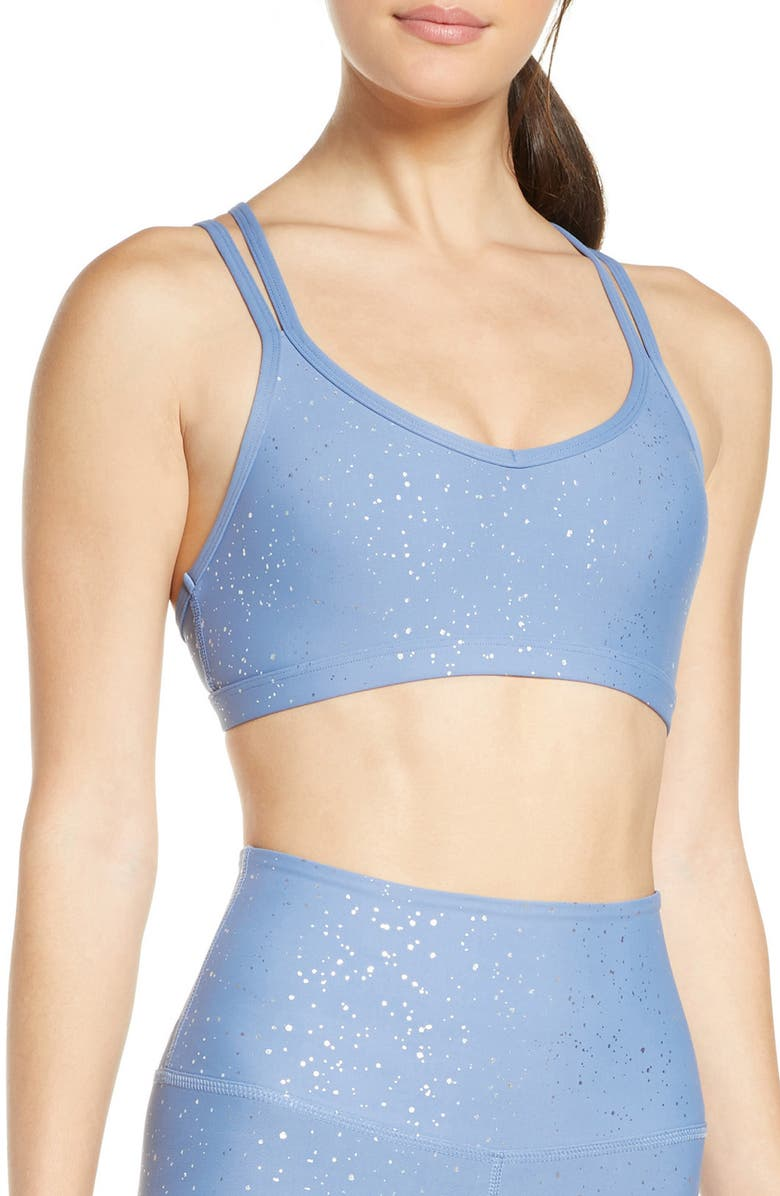 BEYOND YOGA Double Back Alloy Speckled Bra, Main, color, SERENE BLUE/ SHINY SILVER