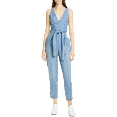 La Vie Rebecca Taylor Crop Denim Jumpsuit, Blue