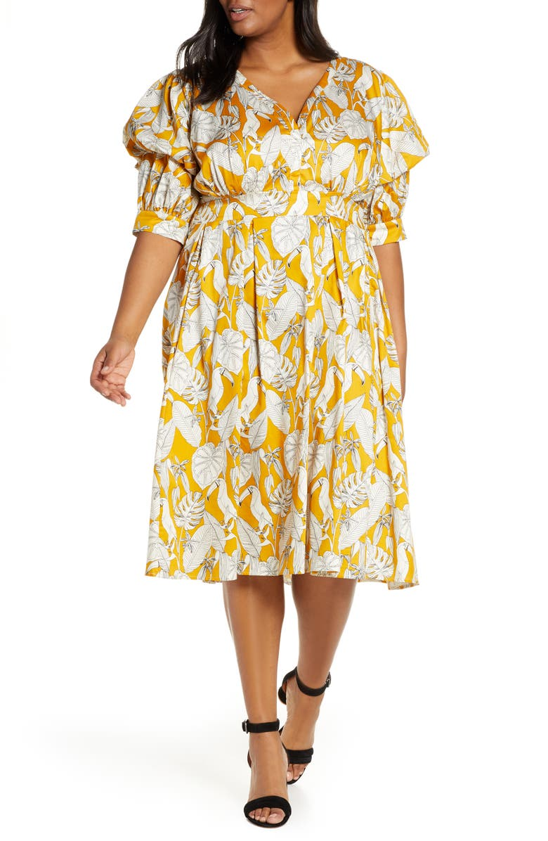 ELOQUII Puff Sleeve Fit & Flare Dress, Main, color, TOUCAN PLAY