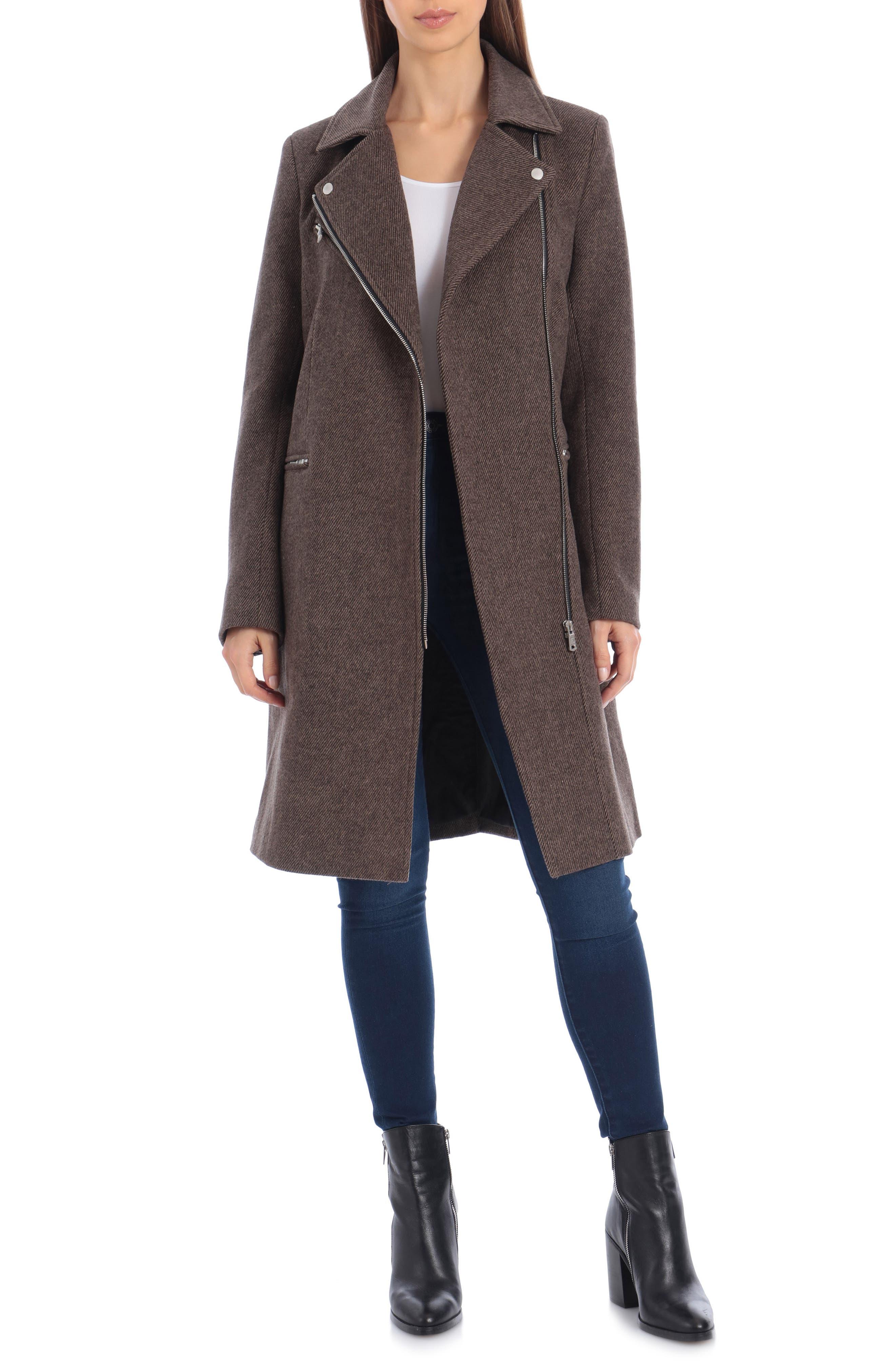 Image of AVEC LES FILLES Moto Detail Wool Blend Twill Coat