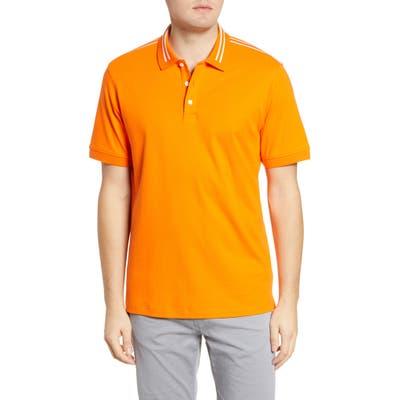 Bugatchi Short Sleeve Pima Cotton Polo, Orange