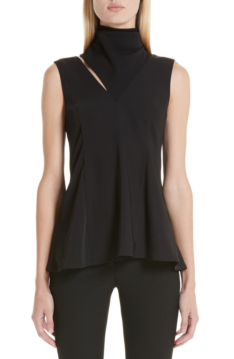BEAUFILLE Funnel Neck Sleeveless Top, Main, color, 001