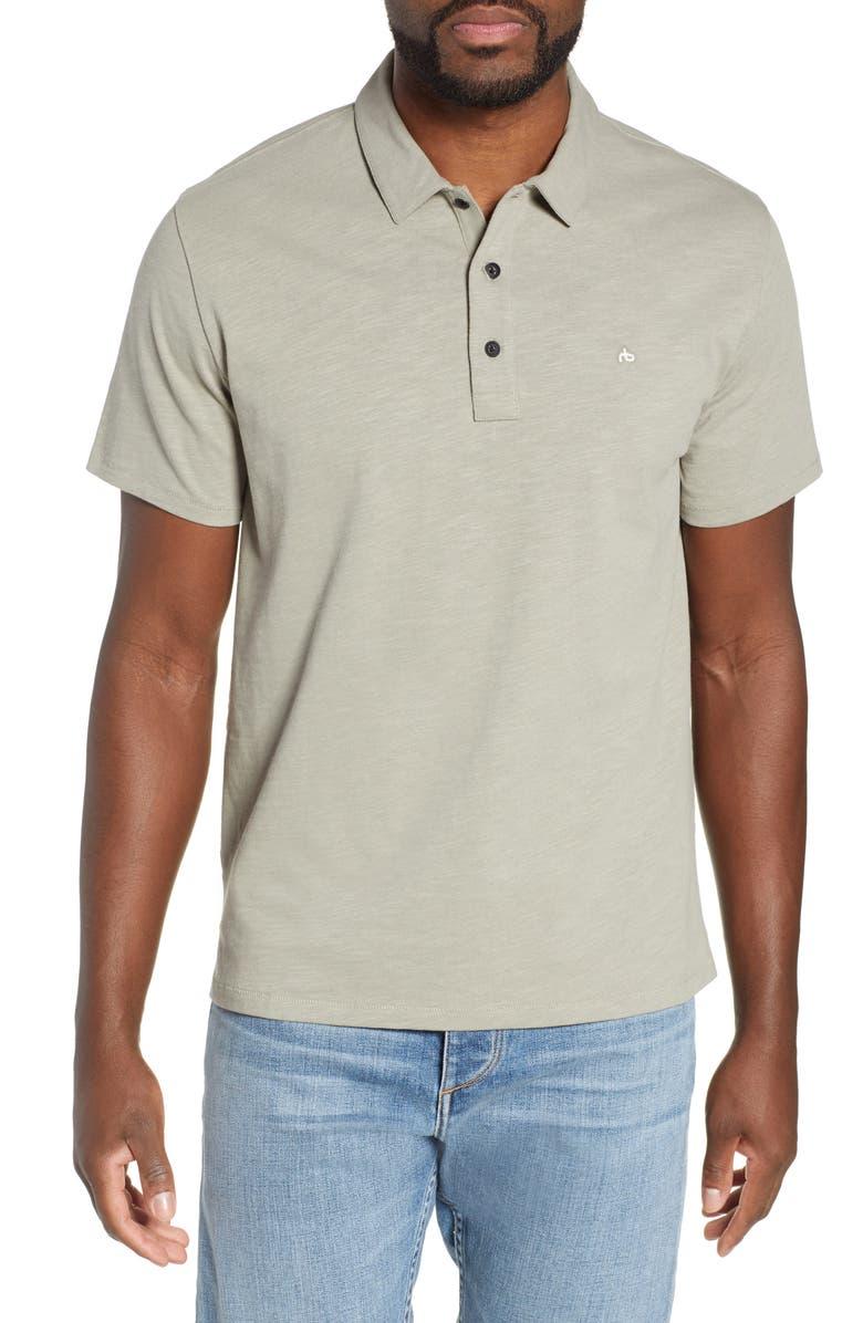 RAG & BONE Slub Cotton Slim Fit Polo, Main, color, OAK