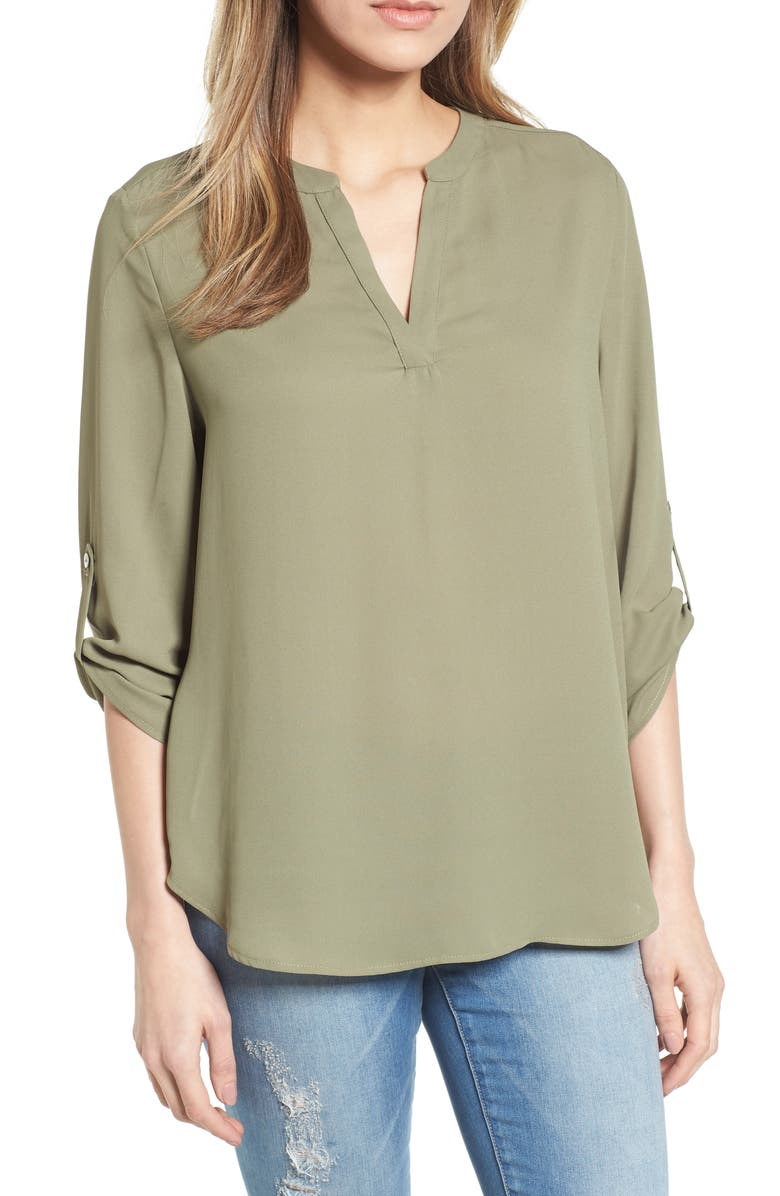 EVERLEIGH Roll-Tab Sleeve Tunic, Main, color, OLIVE