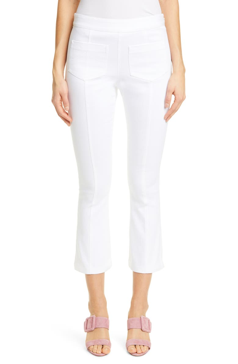 CINQ À SEPT Lindsay Stretch Twill Crop Slim Pants, Main, color, 100