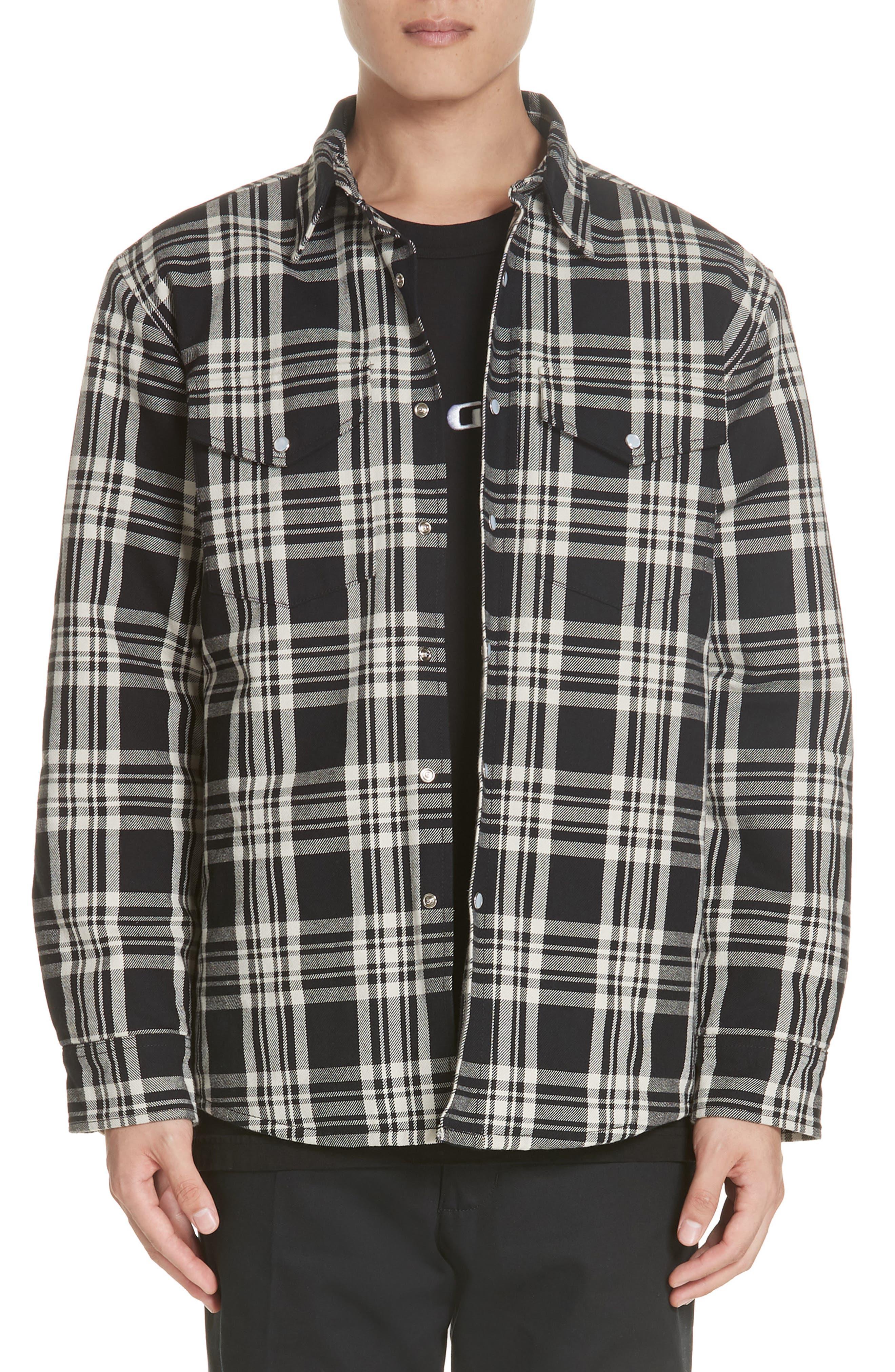 Noon Goons Lbc Plaid Flannel Shirt Jacket, Black