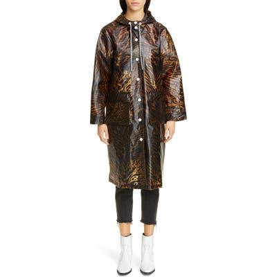Ganni Tiger Print Water Resistant Biodegradable Raincoat, Brown