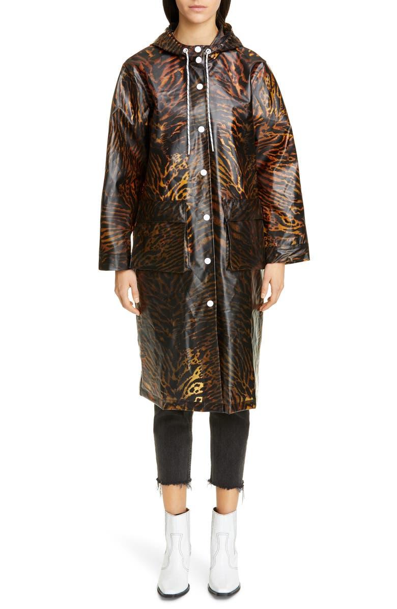 GANNI Tiger Print Water Resistant Biodegradable Raincoat, Main, color, TIGER