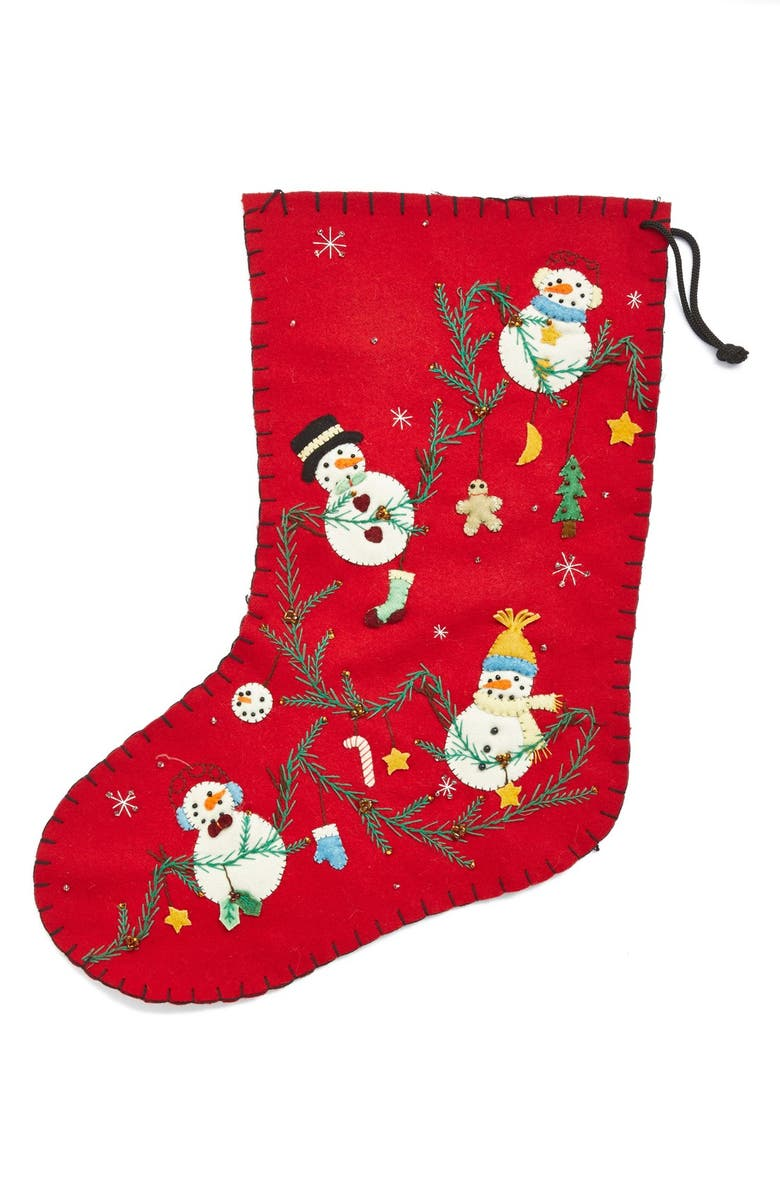 NEW WORLD ARTS Four Snowmen Christmas Stocking, Main, color, RED