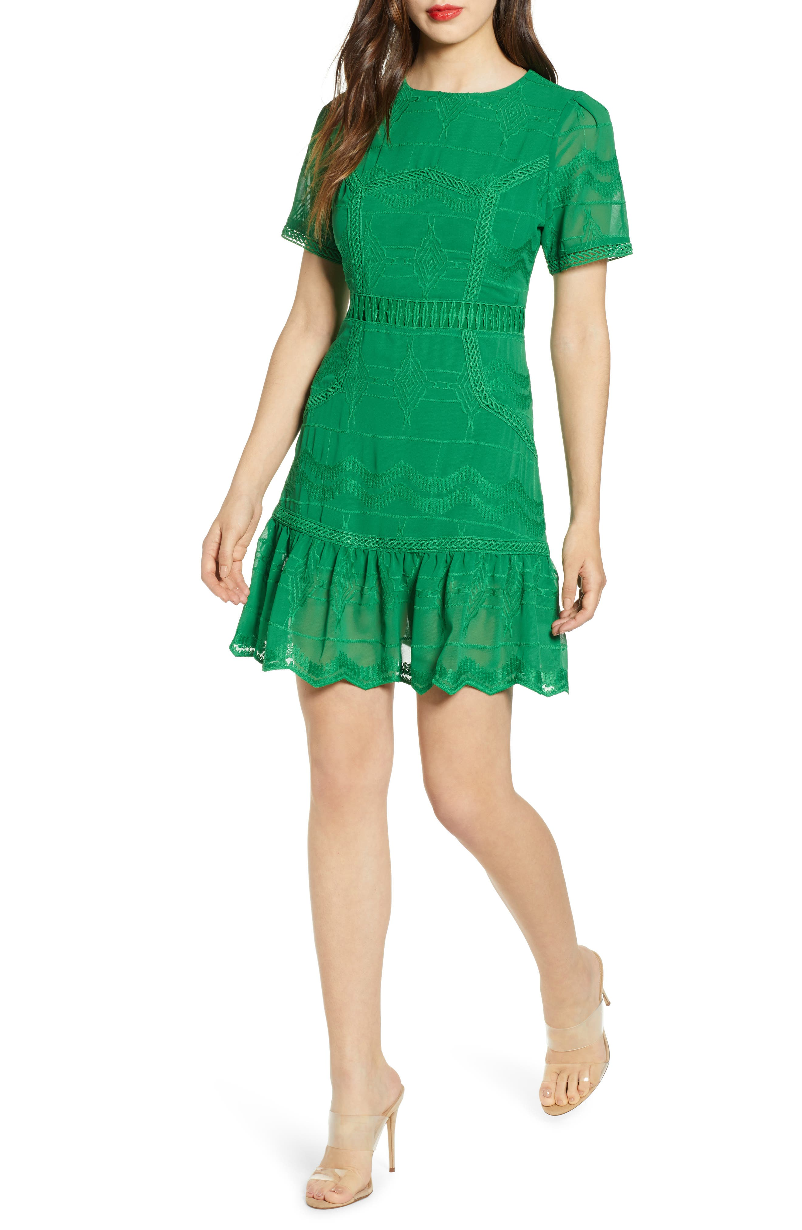 J.o.a. Embroidered Minidress, Green