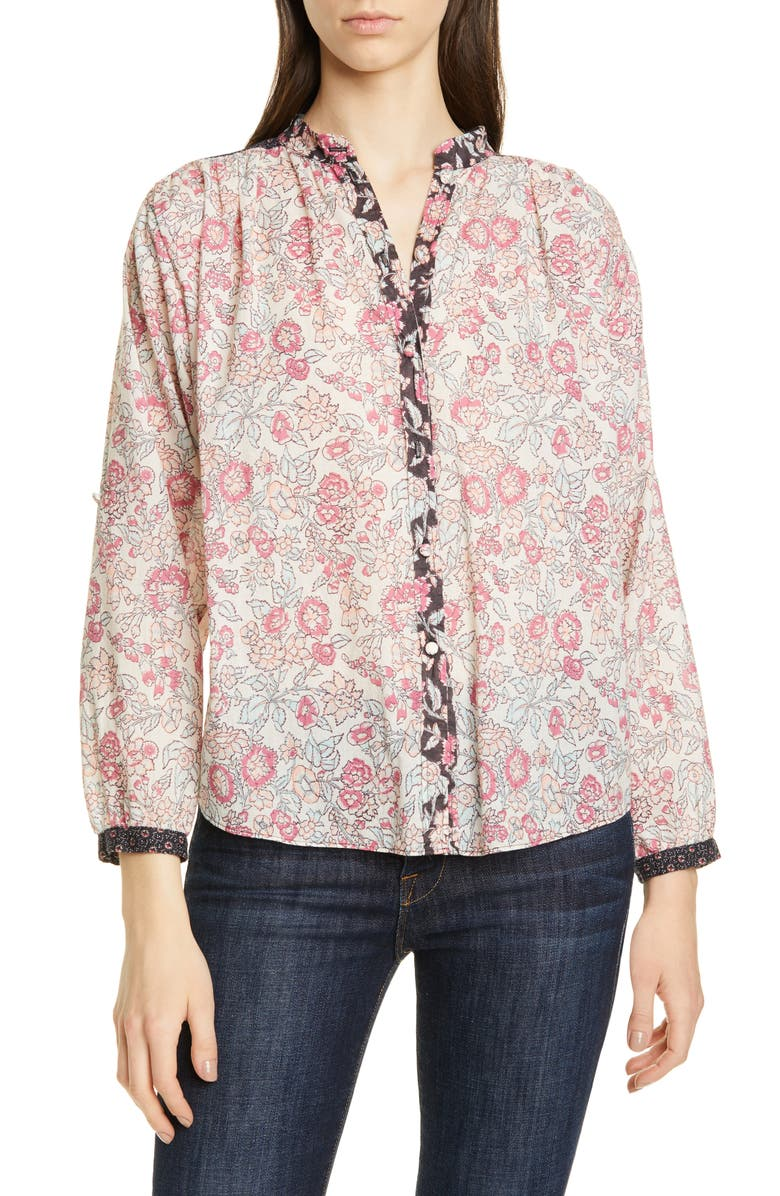 Floral Pattern Mix Cotton Blouse, Main, color, SOFT BLACK COMBO