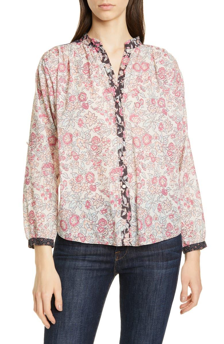Floral Pattern Mix Cotton Blouse, Main, color, SOFT BLACK COMBO