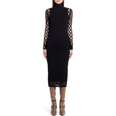 Fendi Mesh Long Sleeve Midi Dress, US / 42 IT - Black