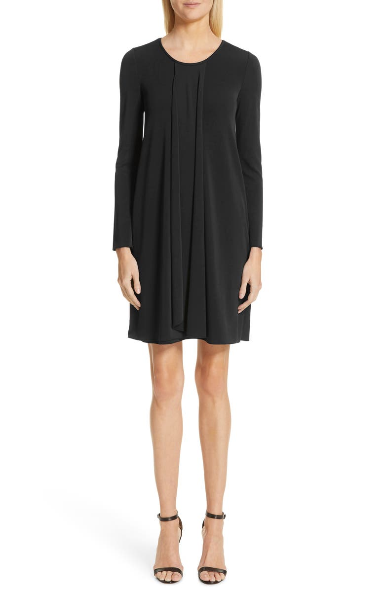 EMPORIO ARMANI Long Sleeve Pleated Dress, Main, color, 001