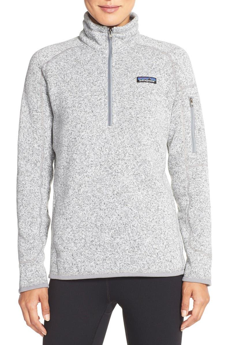 PATAGONIA Better Sweater Quarter-Zip Fleece Pullover, Main, color, BIRCH WHITE