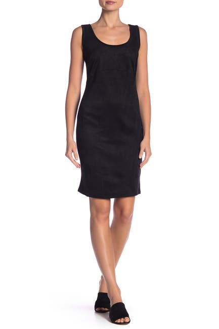 Image of Philosophy Apparel Scoop Neck Faux Suede Mini Dress