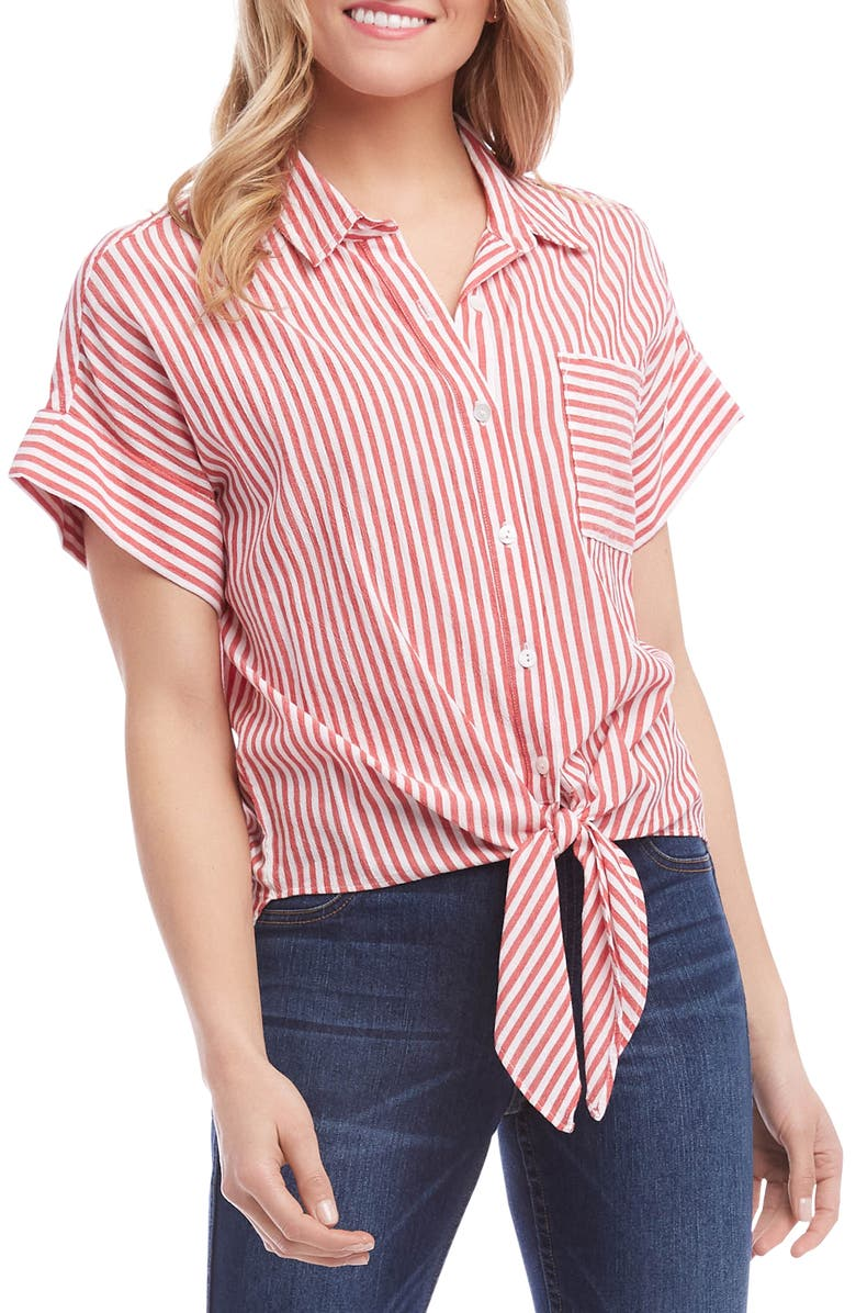 KAREN KANE Stripe Tie Front Top, Main, color, RED
