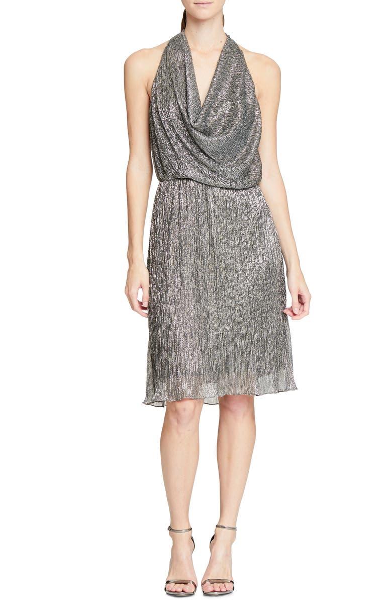 HALSTON HERITAGE Cowl Neck Metallic Cocktail Dress, Main, color, 040