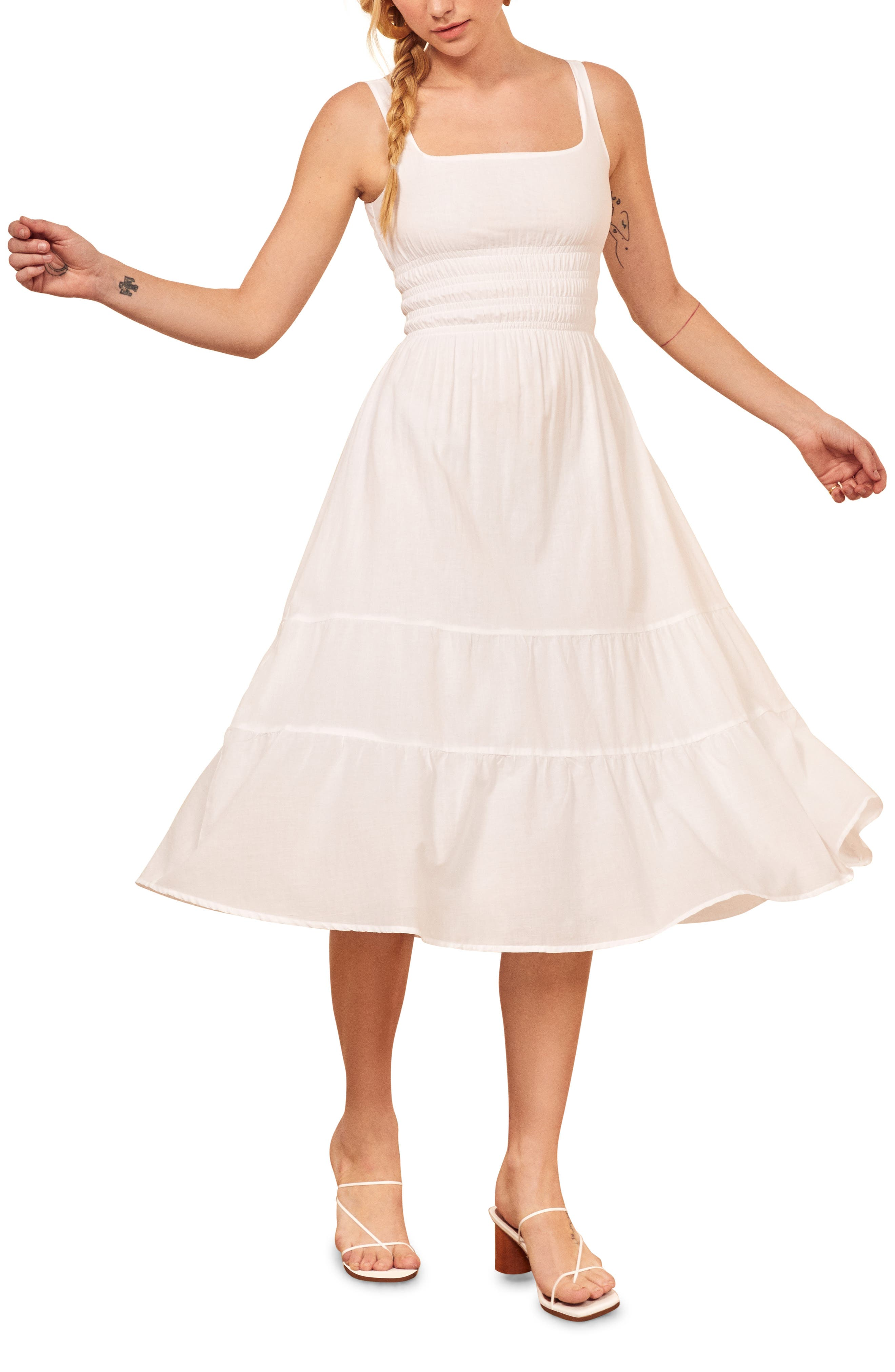 Reformation Lora Sleeveless Midi Dress, White