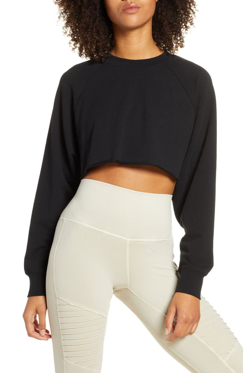 ALO Double Take Crop Sweatshirt, Main, color, BLACK