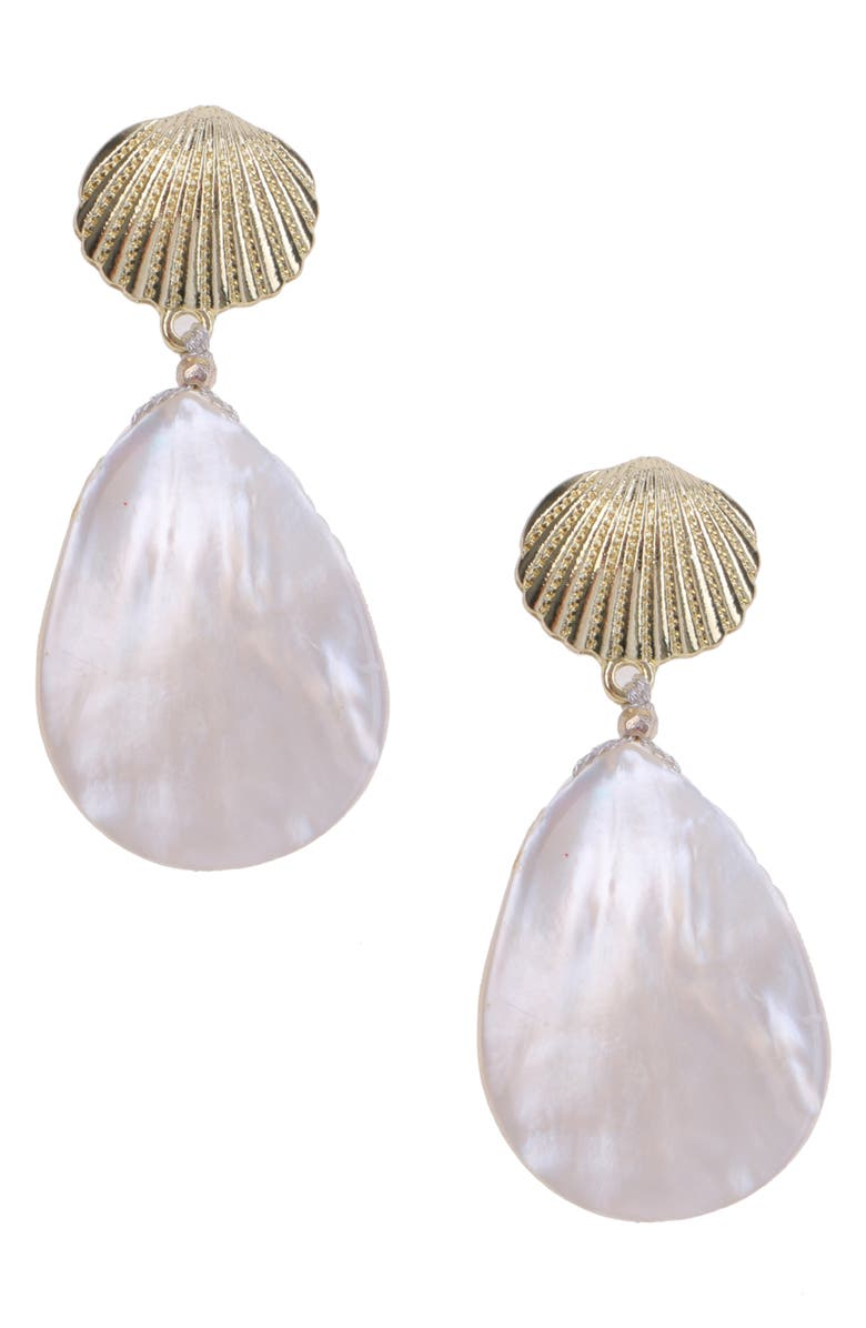 NAKAMOL CHICAGO Mother-of-Pearl Drop Earrings, Main, color, WHITE