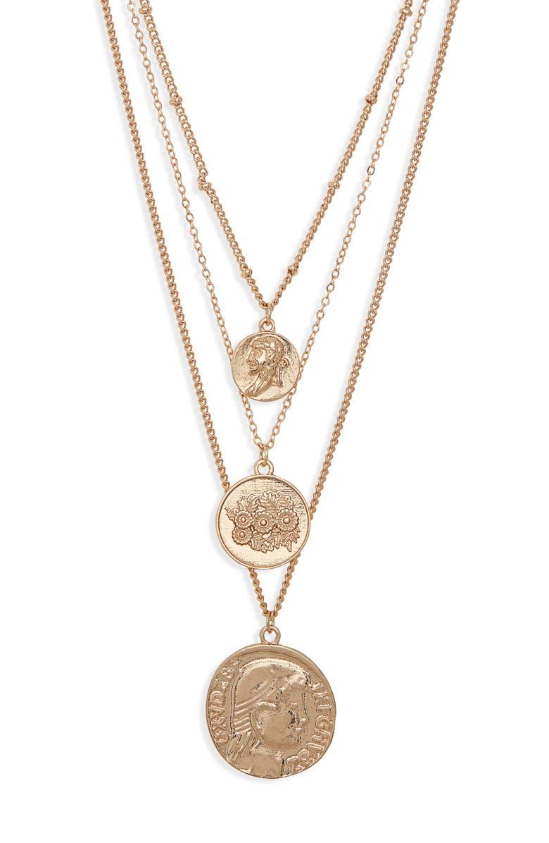 BP. Set of 3 Medallion Pendant Necklaces, Main, color, 710