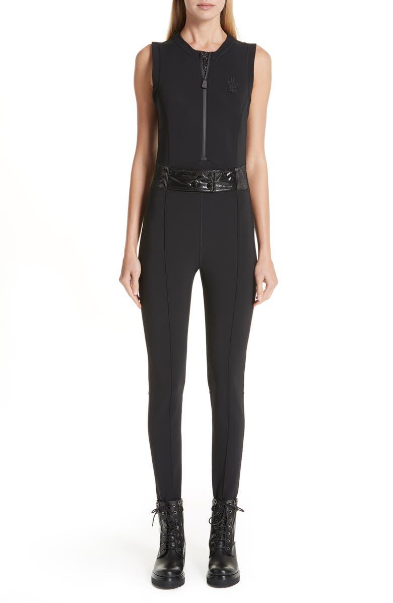 MONCLER Tuta Belted Jumpsuit, Main, color, BLACK