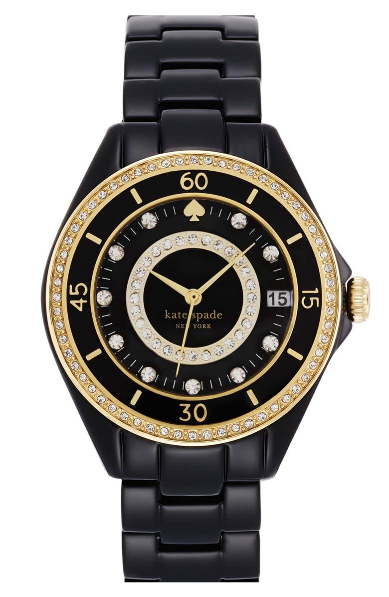 KATE SPADE NEW YORK 'seaport grand' crystal enamel bracelet watch, 38mm, Main, color, 001