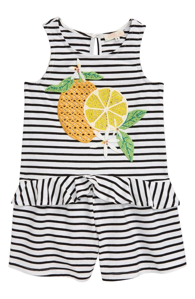 TRULY ME Lemon Sleeveless Stretch Cotton Romper, Main, color, BLACK WHITE STRIPE
