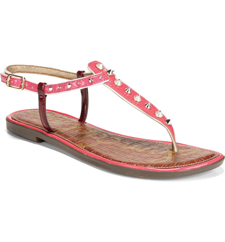 SAM EDELMAN Gigi Sandal, Main, color, CORAL PUNCH PATENT LEATHER